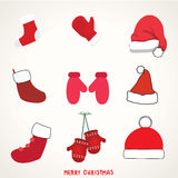 Ícones, elementos e ilustrações da tipografia do Natal ajustados Fotos de Stock