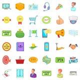 Ícones em linha ajustados, estilo do transporte dos desenhos animados Imagens de Stock Royalty Free