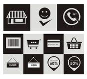 Ícones em linha da loja Imagens de Stock
