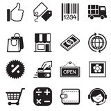 Ícones em linha de compra da silhueta Imagem de Stock