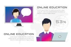 Ícones em linha do vetor da educação Webinar, escola ilustração royalty free