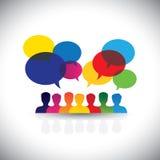 Ícones em linha dos povos na rede & em meios sociais - gráfico de vetor Imagens de Stock