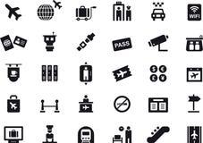 Ícones em relação aos aeroportos e ao curso Foto de Stock Royalty Free