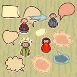 Ícones engraçados ajustados com bolhas do discurso Fotografia de Stock Royalty Free