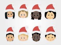 Ícones engraçados das crianças do Natal Fotografia de Stock Royalty Free