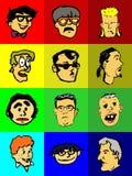 Ícones engraçados das faces Imagens de Stock Royalty Free