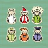 ícones engraçados de um polícia, de um DJ, de um professor, de um fotógrafo, de um anjo e de uma Santa pequena Fotografia de Stock