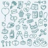 Ícones engraçados do amor Imagem de Stock