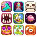 Ícones engraçados do app dos desenhos animados para o projeto de jogo ilustração royalty free