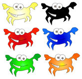Ícones engraçados dos caranguejos Foto de Stock Royalty Free