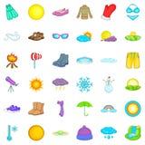 Ícones ensolarados ajustados, estilo do tempo dos desenhos animados Fotografia de Stock Royalty Free