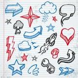 Ícones esboçado ilustração stock
