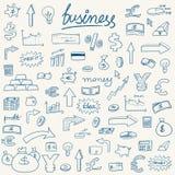 Ícones esboçado do dinheiro ilustração stock