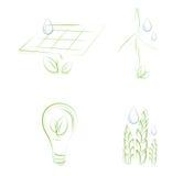 Ícones esboçado do eco ilustração do vetor