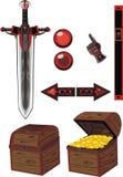 Ícones escuros ajustados ilustração royalty free