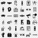 Ícones estereofônicos ajustados, estilo simples da música ilustração stock