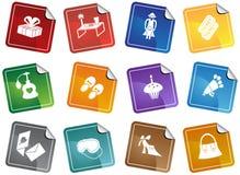 Ícones/etiquetas do dia de matriz Imagem de Stock Royalty Free
