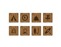 8 ícones exteriores de madeira quadrados Imagem de Stock Royalty Free