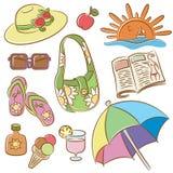 Ícones fêmeas das férias do verão ajustados Imagem de Stock