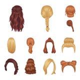 Ícones fêmeas dos desenhos animados do penteado na coleção do grupo para o projeto Ilustração à moda da Web do estoque do símbolo ilustração stock