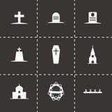Ícones fúnebres pretos do vetor ajustados Fotos de Stock Royalty Free