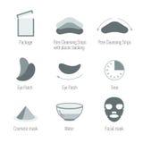 Ícones faciais dos cuidados com a pele ajustados Limpando a pele e mantenha a pele saudável Saúde da pele, coleção dos símbolos ilustração do vetor