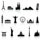 Ícones famosos do monumento do vetor ajustados Fotografia de Stock Royalty Free