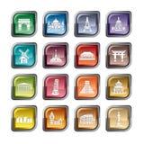 Ícones famosos dos pontos cênicos ilustração stock