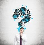 Ícones farpados do negócio do homem e do ponto de interrogação Imagem de Stock Royalty Free