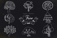 Ícones feitos à mão feitos sob encomenda da árvore ajustados Foto de Stock Royalty Free