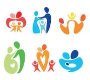 Ícones felizes da família ajustados ilustração royalty free