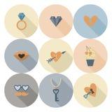 Ícones felizes do dia de Valentim Imagens de Stock