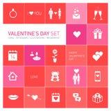 Ícones felizes e pictograma do dia de Valentim ajustados ilustração do vetor