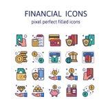 ÍCONES FINANCEIROS: Ícones do esboço, pictograma e coleção enchidos do símbolo Foto de Stock