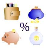 Ícones financeiros ajustados Imagens de Stock
