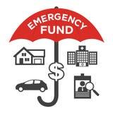 Ícones financeiros do fundo de emergência com guarda-chuva Fotografia de Stock Royalty Free