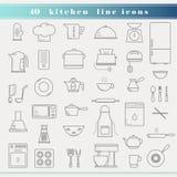 Ícones finos da cozinha do esboço Imagens de Stock