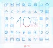 40 ícones finos na moda ajustaram 6 Fotografia de Stock Royalty Free