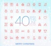 40 ícones finos na moda: Feliz Natal Fotos de Stock Royalty Free