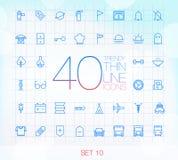 40 ícones finos na moda para a Web e o móbil ajustaram 10 Imagens de Stock Royalty Free