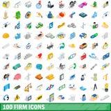 100 ícones firmes ajustados, estilo 3d isométrico ilustração stock