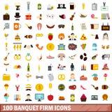 100 ícones firmes ajustados, estilo liso do banquete ilustração do vetor