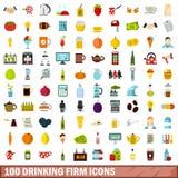 100 ícones firmes bebendo ajustados, estilo liso ilustração do vetor