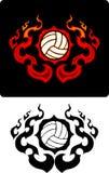 Ícones flamejantes do voleibol Foto de Stock Royalty Free