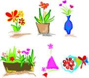 Ícones florais ilustração royalty free