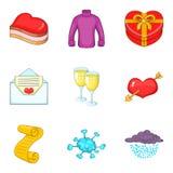 Ícones frios ajustados, estilo do inverno dos desenhos animados Fotografia de Stock Royalty Free