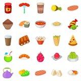 Ícones fritados ajustados, estilo do alimento dos desenhos animados Fotos de Stock Royalty Free
