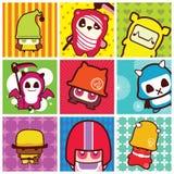 Ícones Funky dos desenhos animados Imagens de Stock