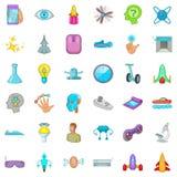 Ícones futuros ajustados, estilo da tecnologia dos desenhos animados Imagens de Stock Royalty Free