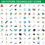 100 ícones futuros ajustados, estilo da tecnologia dos desenhos animados ilustração royalty free
